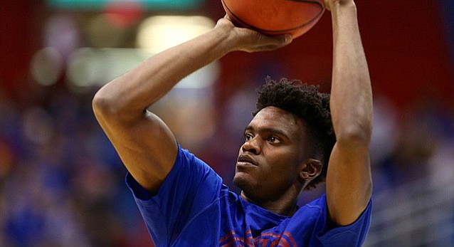Kansas sophomore guard Lagerald Vick puts up a jumper prior to Tuesday's game against Long Beach State at Allen Fieldhouse.