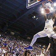 Kansas center Udoka Azubuike (35) delivers on a dunk against Long Beach State during the second half, Tuesday, Nov. 29, 2016 at Allen Fieldhouse.