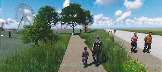 "Once the Douglas County Fairgrounds master plan is fully realized, interpretative trails and pedestrian walkways of mulch and other inexpensive materials placed along existing streets and in the grounds' interior will provide recreational and educational opportunities for county residents. Another element of the plan are ""green seams"" of native vegetation along some streets and walkways."