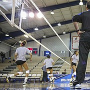 Kansas head coach Ray Bechard watches over practice from the sideline on Wednesday, Nov. 30, 2016 at Horejsi Center. The Jayhawks will host Samford in the opening round of the NCAA Tournament on Thursday.