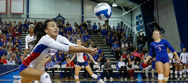 Kansas setter Ainise Havili runs down a ball during the Jayhawks' five-set loss to Creighton in the second round of the NCAA Tournament on Friday, Dec. 2, at Horejsi Family Athletics Center.