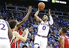 Kansas guard Frank Mason III (0) pulls up for a floater during the second half, Tuesday, Nov. 22, 2016 during the championship game of the CBE Classic at Sprint Center.