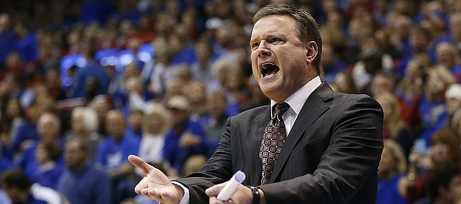 Kansas head coach Bill Self questions one of his players during the second half on Saturday, Dec. 3, 2016 at Allen Fieldhouse.