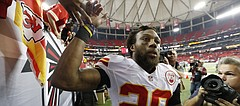 Kansas City Chiefs strong safety Eric Berry (29) greets fans after an NFL game against the Atlanta Falcons, Sunday, Dec. 4, 2016, in Atlanta. The Chiefs won, 29-28.