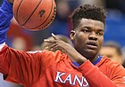 Kansas freshman forward Udoka Azubuike warms up prior to Tuesday's game against UMKC at Allen Fieldhouse.