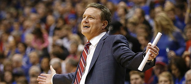 Kansas head coach Bill Self smiles as he barbs an official during the second half, Tuesday, Dec. 6, 2016 at Allen Fieldhouse.