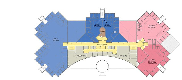 The plans Treanor Architects shared in January with the Douglas County Commission for the county jail's expansion would move the male minimum security pod to the ground floor and convert it to a 28-bed female minimum security pod. The current adjacent women's pod would house the female medium and maximum security pod.