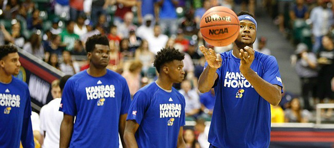 Carlton Bragg and the Kansas Jayhawks warm up prior to their Nov. 11, 2016, meeting with Indiana, in Honolulu, Hawaii.