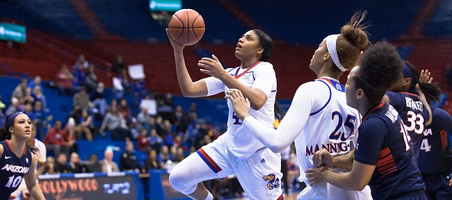Kansas' Jada Brown goes up for the layup during the Jayhawks' 75-51 victory over Arizona on Saturday, Dec. 17, 2016, in Allen Fieldhouse.