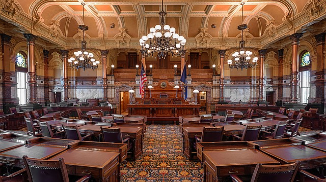 The Senate chamber of the Kansas Statehouse is pictured July 23, 2014 in Topeka.