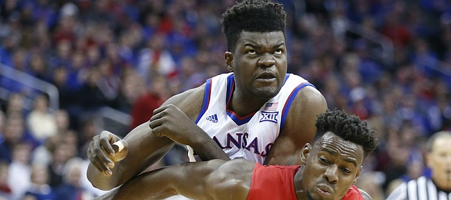 Kansas center Udoka Azubuike (35) fights for position over Davidson forward Nathan Ekwu (1) during the second half, Saturday, Dec. 17, 2016 at Sprint Center.
