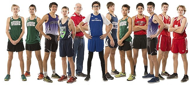 Lawrence Journal-World 2016 All Area boys cross country runners from left, Landon Sloan, Free State; Jared Hicks, Free State; Max Tuckfield, Baldwin; Henry Nelson, Bishop Seabury; Coach of the Year John Tollefsen, Tonganoxie; Josh Mitts, Perry-Lecompton; Noah Katzenmeier, Eudora; Avant Edwards, Free State; Carson Jumping Eagle, Lawrence; Jacob Bailey, Baldwin; Runner of the Year Drew Cook, Tonganoxie; and Carter Kietzmann, Tonganoxie.