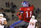 Kansas safety Mike Lee (11) intercepts a pass during overtime on Saturday, Nov. 19, 2016 at Memorial Stadium.