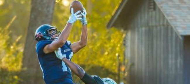 Receiver Kerr Johnson, who signed with Kansas football in December of 2016, rises up to make a catch for Santa Rosa Junior College.