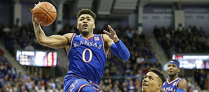 Kansas guard Frank Mason III (0) elevates to the bucket past TCU guard Desmond Bane (1) during the second half, Friday, Dec. 30, 2016 at Schollmaier Arena in Fort Worth, Texas.