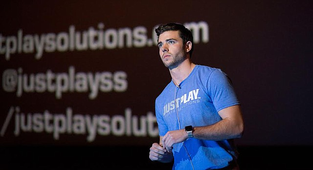 University of Kansas graduate Austin Barone gives a presentation about Just Play Sports Solutions, a business he co-founded while an undergraduate student at KU. He is pictured at a PIpeline Entrepreneurs event in January 2016.