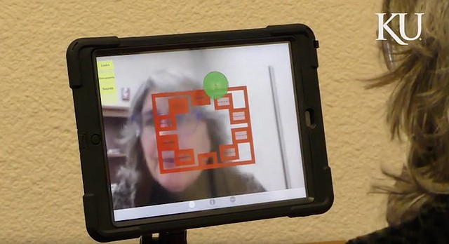 This screengrab from a University of Kansas video shows the Adaptive Use Musical Instrument in use on an iPad. The AUMI is a computerized instrument that allows people — including those who are physically disabled with little or no voluntary movement — to make music.