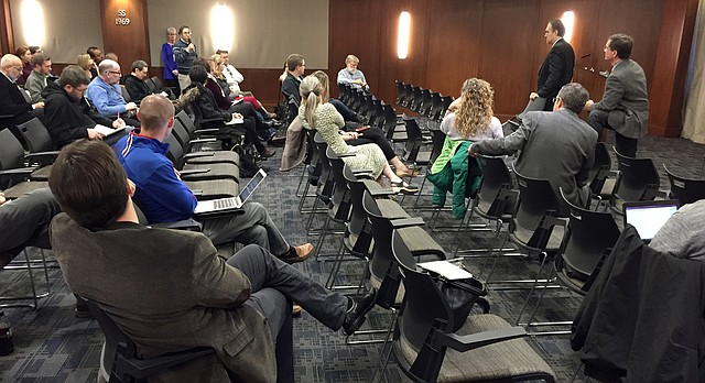 University of Kansas students, faculty and staff offer thoughts on traits they'd like to see in KU's next chancellor Tuesday, Jan. 10, 2017, at the Kansas Union. David Dillon, chairman of the KU chancellor search committee, and Bill Funk, president of the search firm R. William Funk and Associates, led the open forum.