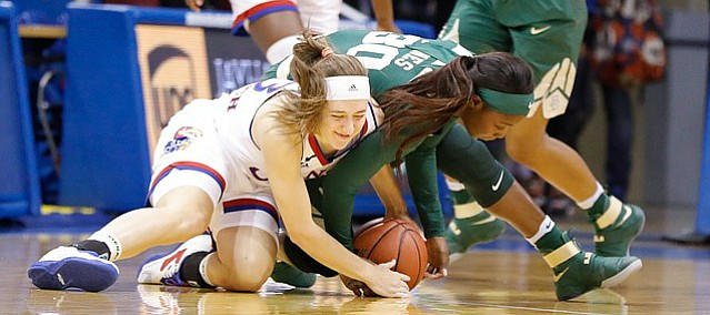 Kansas guard Kylee Kopatich (33) scrambles for a loose ball with Baylor guard Alexis Jones (30) in an NCAA college basketball game Sunday, Jan. 15, 2017, in Lawrence, Kan.