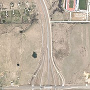 The area surrounding Rock Chalk Park, top left, and the Sixth Street and K-10 interchange, bottom left, is shown in this undated Douglas County GIS image.