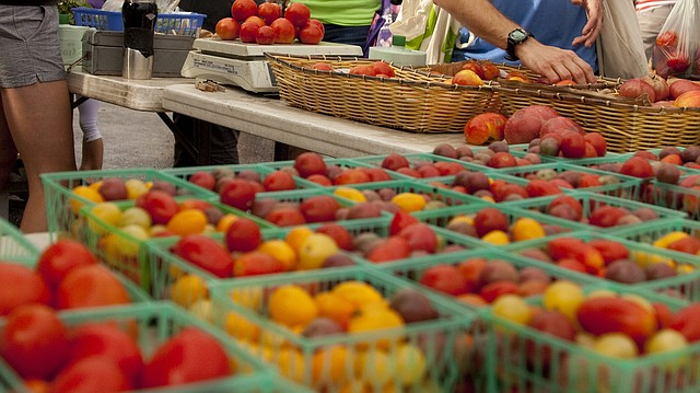 This Journal-World file photo from Saturday, Aug. 20, 2011 shows produce for sale at the Downtown Lawrence Farmers' Market.