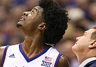 Kansas guard Josh Jackson (11) and Kansas head coach Bill Self watch the replay of a foul called on Jackson during the second half, Saturday, Jan. 21, 2017 at Allen Fieldhouse.