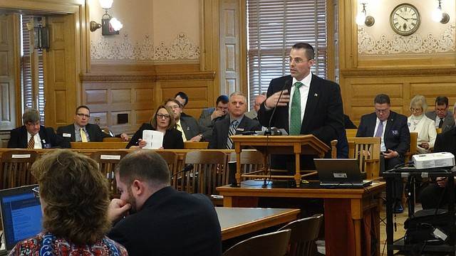 Lawrence school district superintendent Kyle Hayden briefs a legislative committee about the Lawrence Virtual School. Hayden spoke to the House K-12 Education Budget Committee which will help craft a new school funding formula that will include funding for virtual schools.