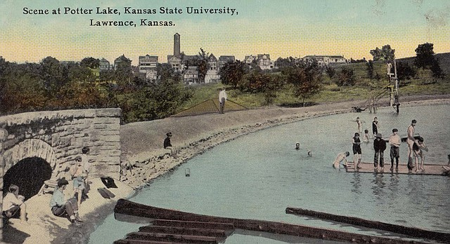 This postcard of Potter Lake on the University of Kansas campus is part of a collection from Sally Postma and Charline Fitzpatrick that has been digitized as part of an online partnership between Lawrence Public Library, Watkins Community Museum and Douglas County Genealogical Society.