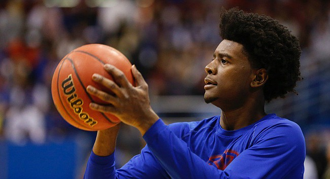 Kansas freshman Josh Jackson warms up prior to Wednesday's game against Baylor at Allen Fieldhouse.