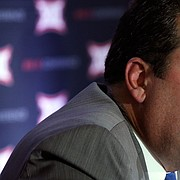 Kansas athletic director Sheahon Zenger speaks during a Big 12 conference meeting in Irving, Texas, Wednesday, June 1, 2016. (AP Photo/LM Otero)