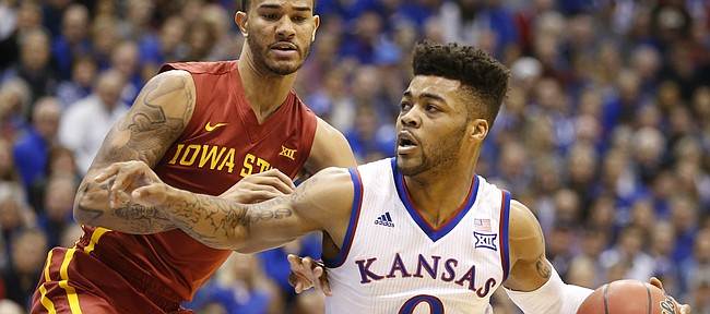 Kansas guard Frank Mason III (0) drives against Iowa State guard Nick Weiler-Babb (1) during the first half, Saturday, Feb. 4, 2017 at Allen Fieldhouse.
