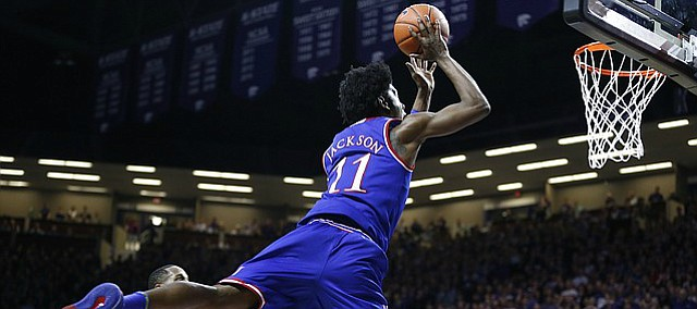 Kansas guard Josh Jackson (11) lunges to the bucket after drawing contact during the second half, Monday, Feb. 6, 2017 at Bramlage Coliseum.