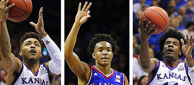 Kansas guards, from left, Frank Mason III, Devonte' Graham and Josh Jackson, have made up one of the more impressive perimeter trios in recent KU basketball memory.