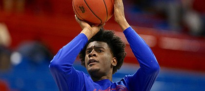 Kansas freshman wing Josh Jackson hoists up a shot prior to Saturday's game against Oklahoma State at Allen Fieldhouse.