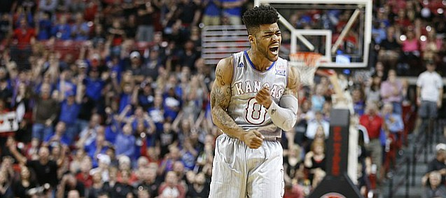 Kansas guard Frank Mason III (0) pumps his fist after drilling a three-pointer against Texas Tech during the second half, Saturday, Feb. 11, 2017 at United Supermarkets Arena in Lubbock, Texas.