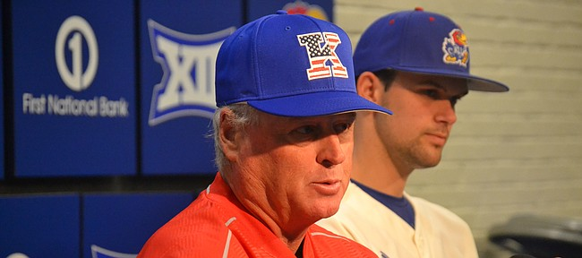 Kansas baseball coach Ritch Price, left, and team captain Stephen Villines speak about the upcoming season at KU's Media Day on Wednesday.