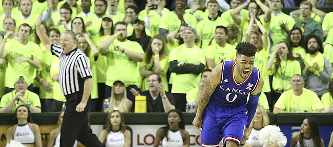 Kansas guard Frank Mason III (0) roars before a dejected Baylor student section as time expires in the Jayhawks' 67-65 win, Saturday, Feb. 18, 2017 at Ferrell Center in Waco, Texas.