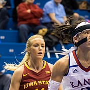 Kansas guard Jessica Washington (3) drives against Iowa State on Tuesday night in Allen Fieldhouse.