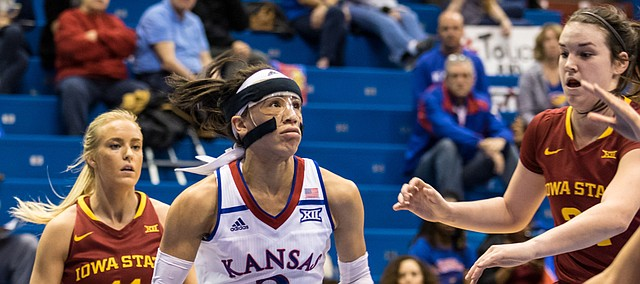 Kansas guard Jessica Washington (3) drives against Iowa State on Tuesday night in Allen Fieldhouse.