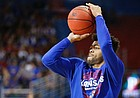 Kansas senior guard Frank Mason warms up prior to Wednesday's game against TCU at Allen Fieldhouse.
