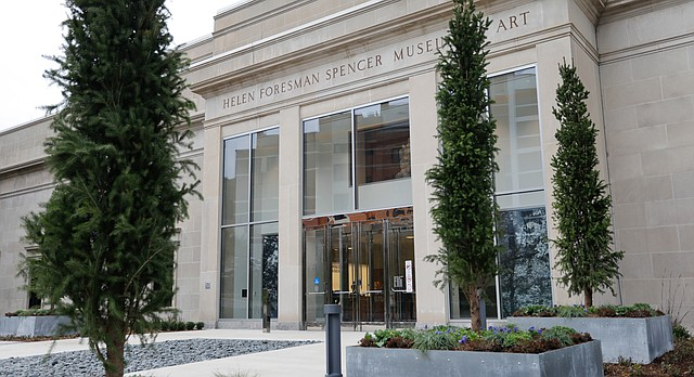 New landscaping and entrance displays greet visitors to the new renovated spaces and reinstalled galleries at Spencer Museum of Art at the University of Kansas.