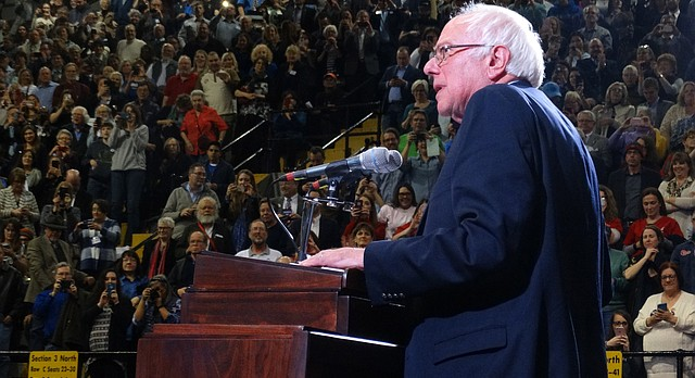Former presidential candidate Bernie Sanders speaks to about 4,000 people in the Topeka High School gymnasium on Saturday, rallying supporters even as the national Democratic Party tries to find its footing after losing the White House in 2016.
