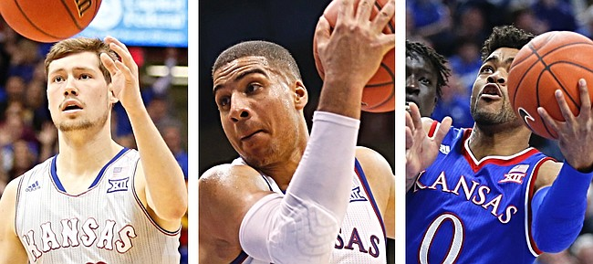 KU seniors, from left, Tyler Self, Landen Lucas and Frank Mason III, will be honored Monday, Feb. 27 at Allen Fieldhouse after playing in the final home game of their careers.