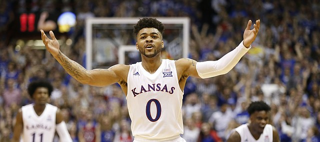 Kansas guard Frank Mason III (0) raises up the Fieldhouse during the Jayhawks' comeback run in the second half, Monday, Feb. 27, 2017 at Allen Fieldhouse.