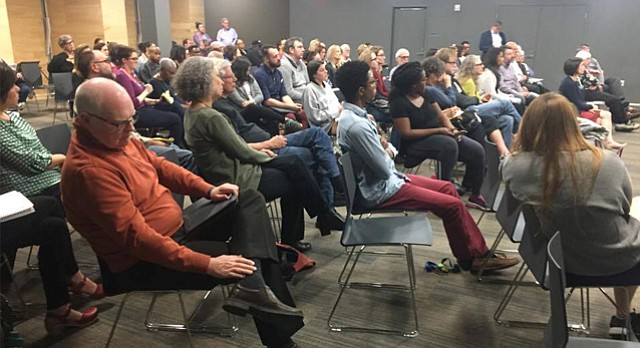"More than 70 people attend a talk on racial equity in Lawrence public schools, ""Fixing Lawrence's Achievement Gap,"" at the Lawrence Public Library on Tuesday."