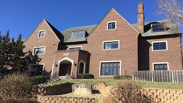 The Phi Delta Theta fraternity house at 1621 Edgehill Road, just off the University of Kansas campus.