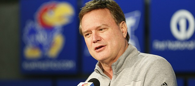 Kansas head coach Bill Self talks with media members following the NCAA selection show on Sunday, March 12, 2017 at Allen Fieldhouse. The Jayhawks received a number one seed in the Midwest Regional and will play the winner of the NC Central and UC Davis First Four game in Tulsa.