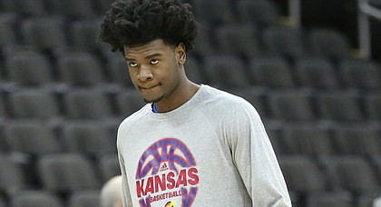Kansas guard Josh Jackson takes the court during a practice on Wednesday, March 8, 2017 at Sprint Center.
