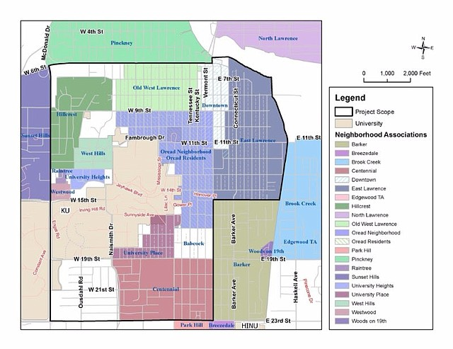 The area for the city's ongoing parking study, which includes downtown and surrounding neighborhoods.