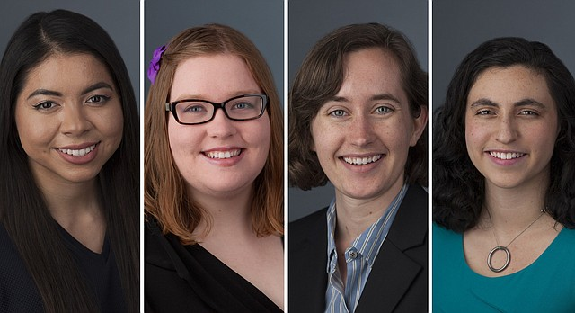 The University of Kansas has nominated four students for 2017 Barry M. Goldwater Scholarships. The students, from left, are Marilyn Barragan, Kathryn Brewer, Elish Gibson and Emmaline Lorenzo.